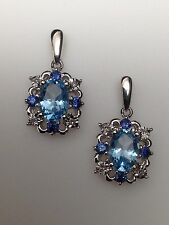 10K White Gold Oval Shape Blue Topaz, Iolite and Diamond Dangle Earrings New