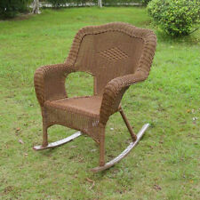 International Caravan Chelsea Wicker Resin Outdoor Rocking Chair Set Of 2  Mocha