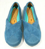 New Mozo Suede Canvas Sport Slip On Shoes Blue Teal Women's Size 7
