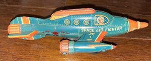 YONEZAWA JAPAN SPACE JET FIGHTER TIN FRICTION TOY - ONE OF A KIND? MISSING WING