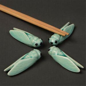 Cicada Porcelain Ceramic Chopsticks Rack Holder Rest Tray Mount Chinese Gift New
