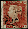 SG8, 1d red-brown PLATE 27, FINE USED. Cat £60. 4 MARGINS. IA