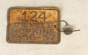 Vintage 1956 Hopkins Bicycle Registration Metal Tag License Plate