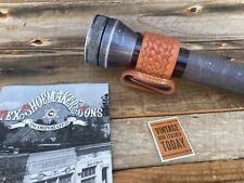 """Vintage Tex Shoemaker Brown Basketweave Flashlight Holder C or D 1 3/4"""""""