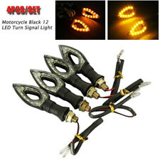 4x Universal Motorcycle Black 12 LED Turn Signal Indicators Blinker Amber Light