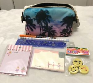 Qlia, Tropical Pencil Pouch Bag with Lot of 6 Items, Pencil, Ruler, Note Pads