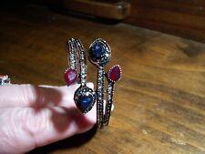 Vintage Turkish design Blue /Ruby Red Resin /Brass alloy adjust. hinged/bangle
