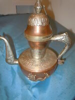 VINTAGE COPPER NICKEL SILVER & BRASS DRAGON URN TEAPOT EWER ORNATE UNIQUE VESSEL