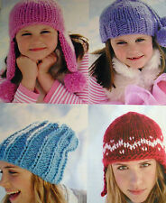 1527 Boys Girls Women's Mens Super Chunky Hats 4 Easy Designs Knitting Pattern