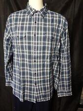 Kenneth Cole New York Men Navy Plaid button down Shirt Top size XL cotton
