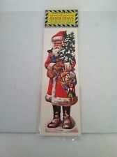 3 Vintage Christmas Old Fashioned Santa Peel & Stick Decorations Seals Stickers