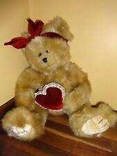 Stuffed Plush Teddy Bear Valentines Day Red Heart KenTex Brown Furry 16""