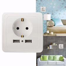 5V 2A Prise de Courant Douille 2 USB Mural Electrique Chargeur Adaptateur Socket
