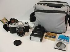 Pentax Asahi K1000 35mm SLR Film Camera - SMC Pentax-A 1:2 50mm Lens, Flash more
