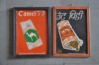 2 Pc Vintage Framed Camel - 77 Brand Bidi Ad Litho Tin Sign Board