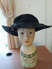 Louise Green hat, black cloth with wide brim