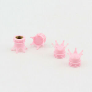 4x Crown Pink Wheel Tyre Tire Valve Core Stem Air Dust Caps Cover for Honda