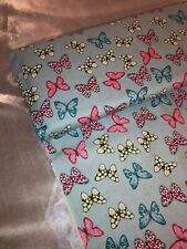 "1 MTR IVORY MULTI COLOURED BUTTERFLY PRINT 100/% COTTON FABRIC...45/"" WIDE £4.50"