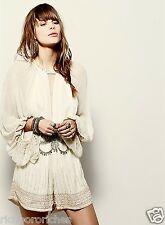 NEW Free People ivory Embroidered Beaded Billowy Sleeve Chiffon Romper S