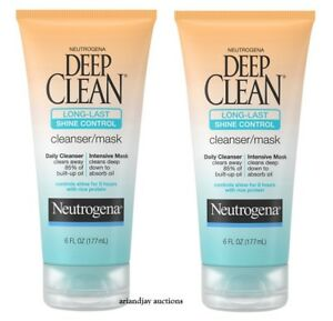 Lot of 2 New Neutrogena Deep Clean Long-Last Shine Control Cleanser / Mask 6 oz
