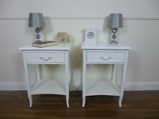 Handmade French One Drawer Bedside Cabinets In White