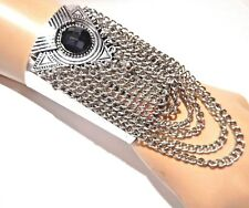 WIDE SILVER CUFF CHAINS bangle bohemian ethic African boho bracelet geometric 6V