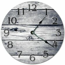 "10.5"" GREY WEATHERED WOOD BOARDS CLOCK - Large 10.5"" Wall Clock  4061"