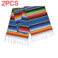 2pcs Mexican Serape Table Runner Blanket Fringe Cotton Tablecloth Party Decor