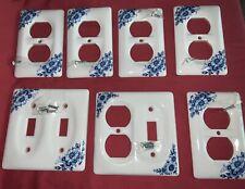 Lot Of 7 Vintage Blue & White Porcelain Switch Plates