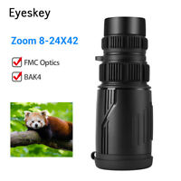 8-24x42 Zoom Optics Monocular HD Scope FMC BAK4 for Bird Watching Hunting Travel