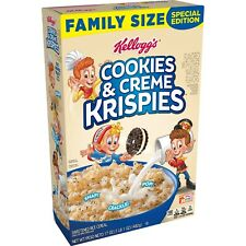 NEW KELLOGG'S COOKIES & CREME KRISPIES FLAVORED CEREAL 17 OZ FREE WORLD SHIPPING