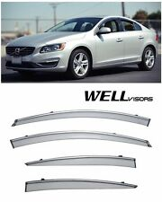 For 11-UP Volvo S60 WellVisors Side Window Visors W/ Chrome Trim