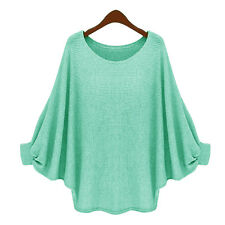 Women Batwing Sleeve Knitted Sweater Tops Casual Shirt Loose Plain Blouse Jumper