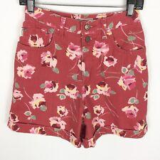 """Arizona Jean Shorts Junior's Sz 7 Red Floral High Waist Cuffed 5"""" Inseam Vintage"""