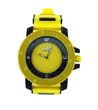MENS ICED OUT HIP HOP BLING YELLOW/BLACK ICE MASTER BULLET BAND WATCH