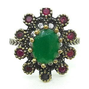 Deco 3.55ctw Emerald, Ruby & Diamond Cut White Sapphire 14K Yellow Gold 925 Ring