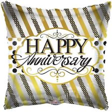 """18"""" Happy Anniversary Lines & Dots Mylar Foil Balloon Party Decoration"""