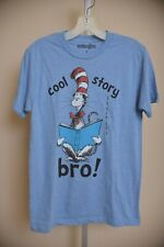 "Dr. Suess Cat in the Hat ""Cool Story Bro"" Blue Short Sleeve T Shirt Men's size S"