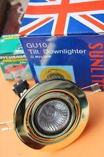 Sunlite Tilt GU10 240v Enclosed Downlight Polished Brass + 50w Sylvania bulb