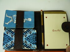 Rare Vintage  Playing Cards in Leather (looks like )Case with Note Pad and Pen