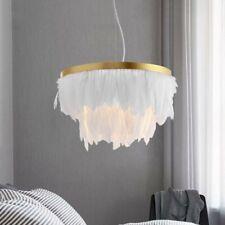 Modern White Feather LED Pendant Light Round Gold Metal Band 1-Light Bedroom E27