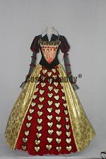 Alice in Worderland Red Queen of Hearts Elegant Party Long Dress Cosplay Costume