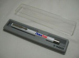 Vintage Parker Vector White Rollerball Pen Advertising Panafon w/Case