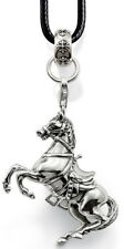 Western Equestrian Cowgirl Antique Silver Horse Necklace
