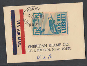 Liberia # C13 Small Air Mail Cover to NY Airplane