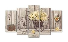 Quadro Shabby Chic moderno su 5 pannelli bicicletta con rose gialle | 150x100 cm