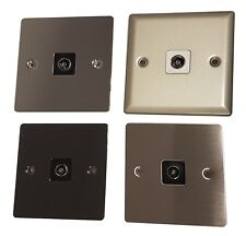 Volex TV Coax Wall Socket Faceplate - Television Panel Co-axial Aerial Cable Polished Chrome