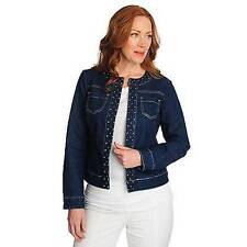 NEW Glitterscape Stretch Denim Long Sleeved Collarless Studded Jacket SZ S, M, L
