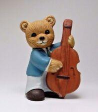 Vintage HOMCO Porcelain Bear Figurine - #1422 - Musical Bear with String Bass