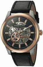 Kenneth Cole Automatic 21 Jewels Rose Gold Black Leather Men's Watch 10031275